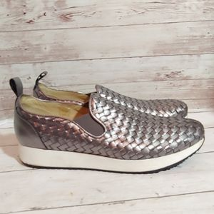 M. Gemi silver woven leather sneakers